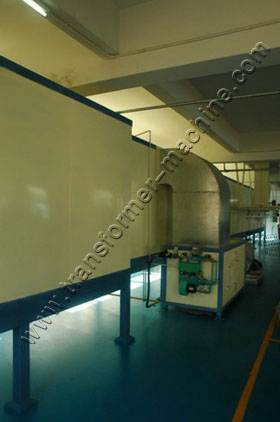 Powder coating line for tanks